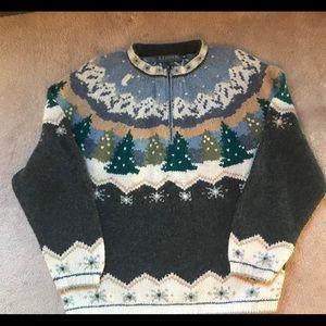 Icelandic Design Half zip Pullover Wool Sweater M